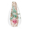 Glass Lamp Bead 29x15mm Drop Crystal With Rose